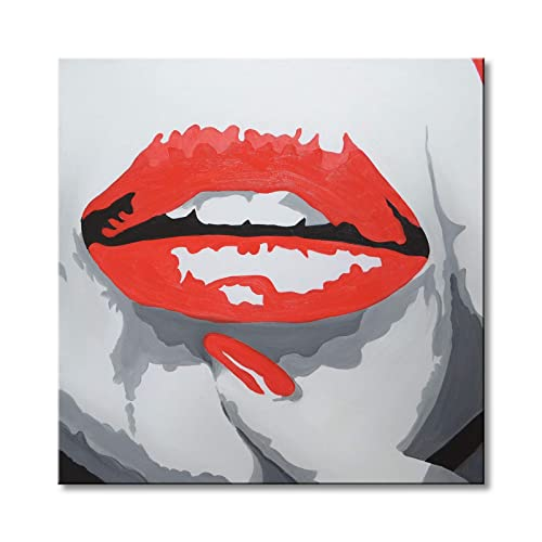 RED PINK ABSTRACT SPLATTER LIPS CANVAS WALL ART PRINT PICTURE READY TO HANG