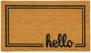 mDesign Rectangular Coir and Rubber Entryway Welcome Doormat with Natural Fibers for Indoor or Outdoor Use - Decorative Sc...