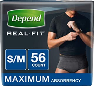 Depend Real Fit Incontinence Underwear for Men, Maximum Absorbency, Small/Medium (Pack of 56), Black