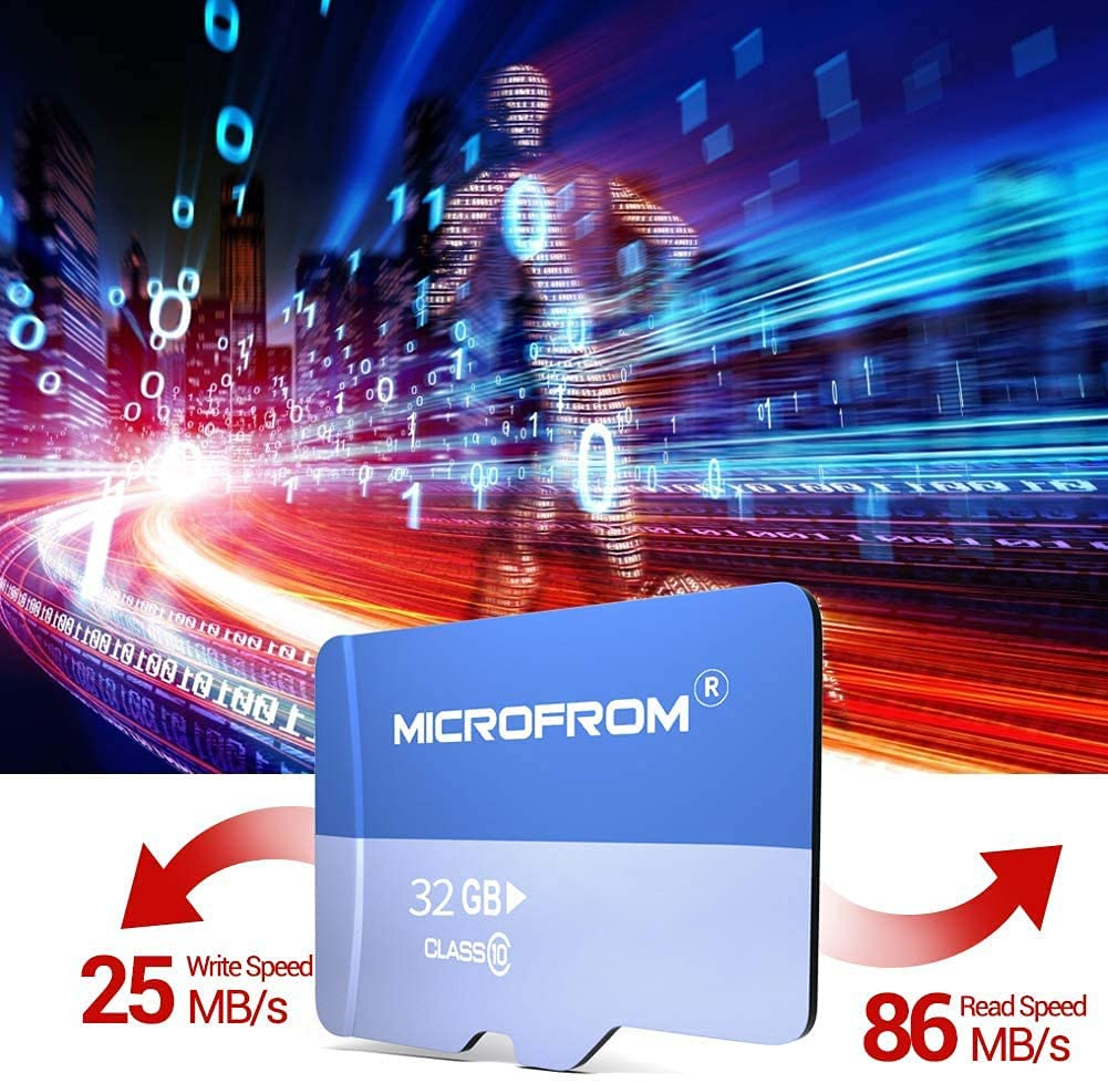 MICROFROM 32GB SD Card FAT32 SD Cards with Adapter, Flash Memory Card High Speed TF Card with 86MB/s, UHS-1, C10, V30, U1 FAT32(32GB 1 Pack)