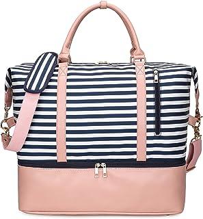 EverVanz Borsa da viaggio per il weekend, borsa da mare, borsa vintage in tela con rivestimento in pelle, unisex