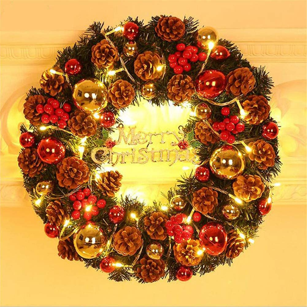 DevileLover LED Pine Garland Wreath Background Wall Win overseas store Ornament