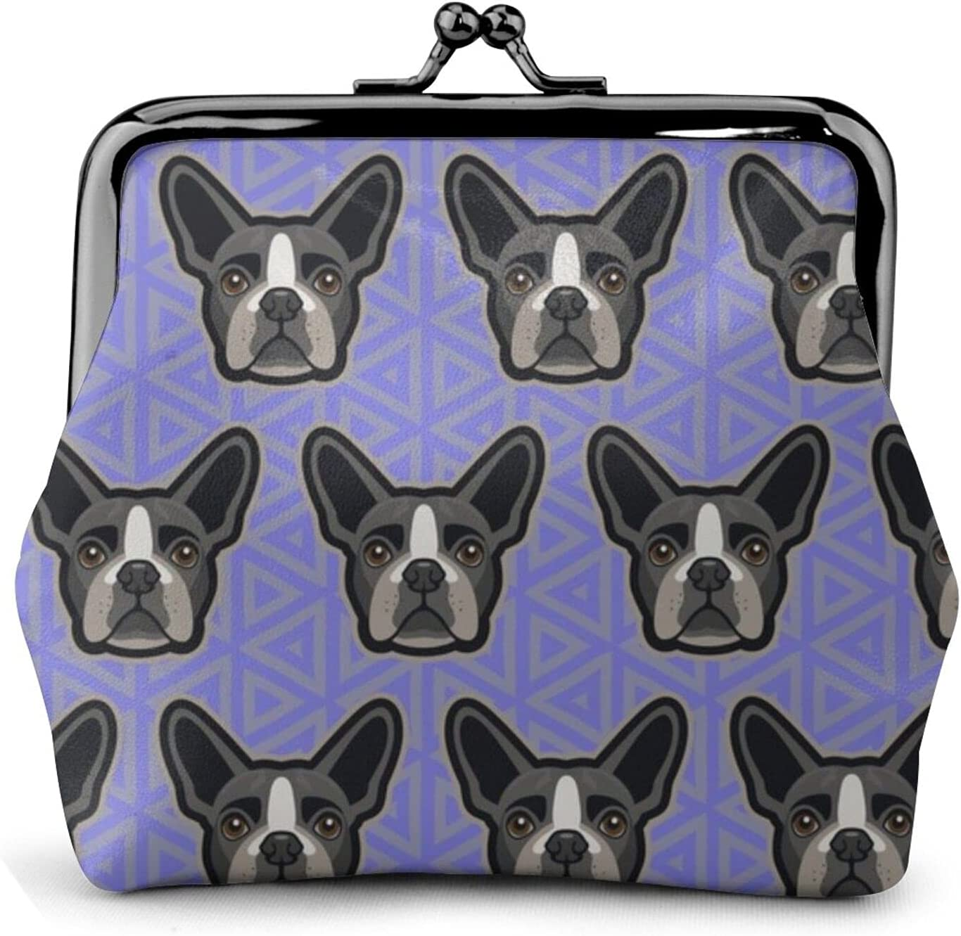 Boston Terrier Lavender 1016 Leather Coin Purse Kiss Lock Change Pouch Vintage Clasp Closure Buckle Wallet Small Women Gift