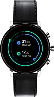 Connect 2.0 Unisex Powered with Wear OS by Google Stainless Steel and Black Leather Smartwatch, Color: Black (Model: 3660022)