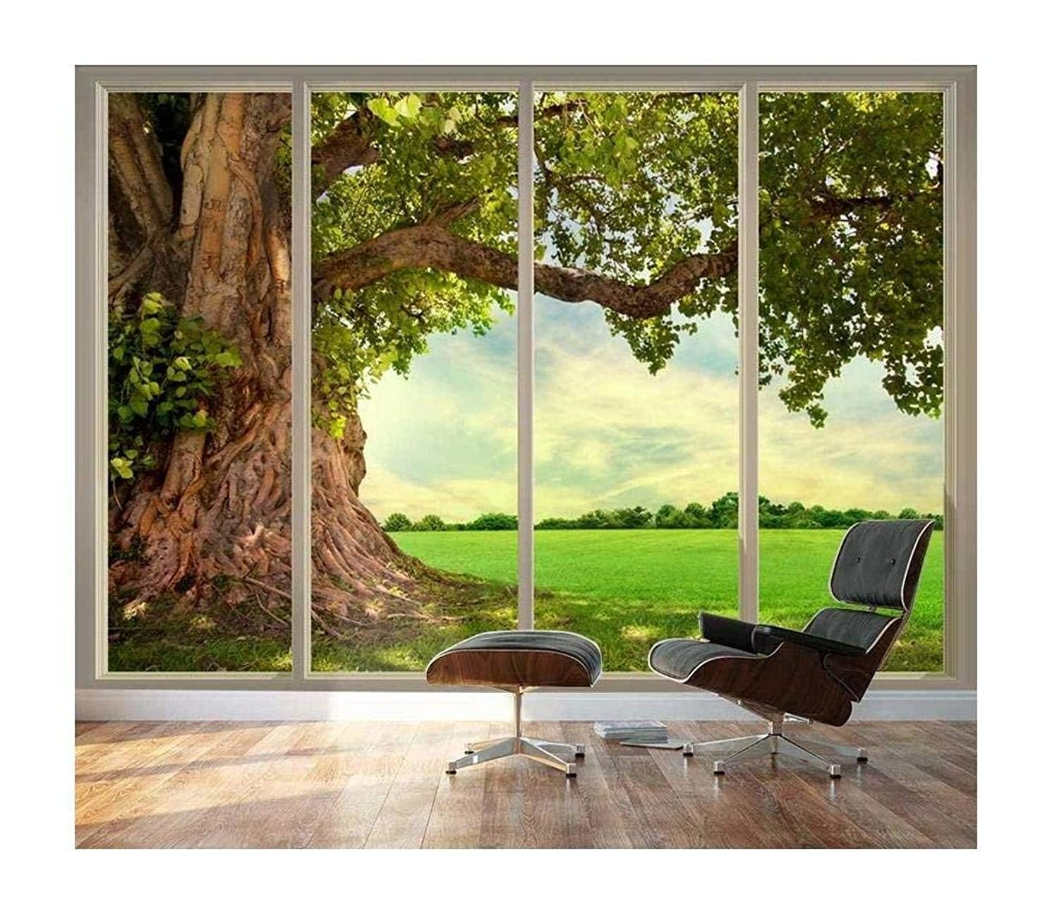 wall26 - Large Wall Mural - Old Tree and Meadow Seen Through Sliding Glass Doors | 3D Visual Effect Self-Adhesive Vinyl Wallpaper/Removable Modern Decorating Wall Art - 100