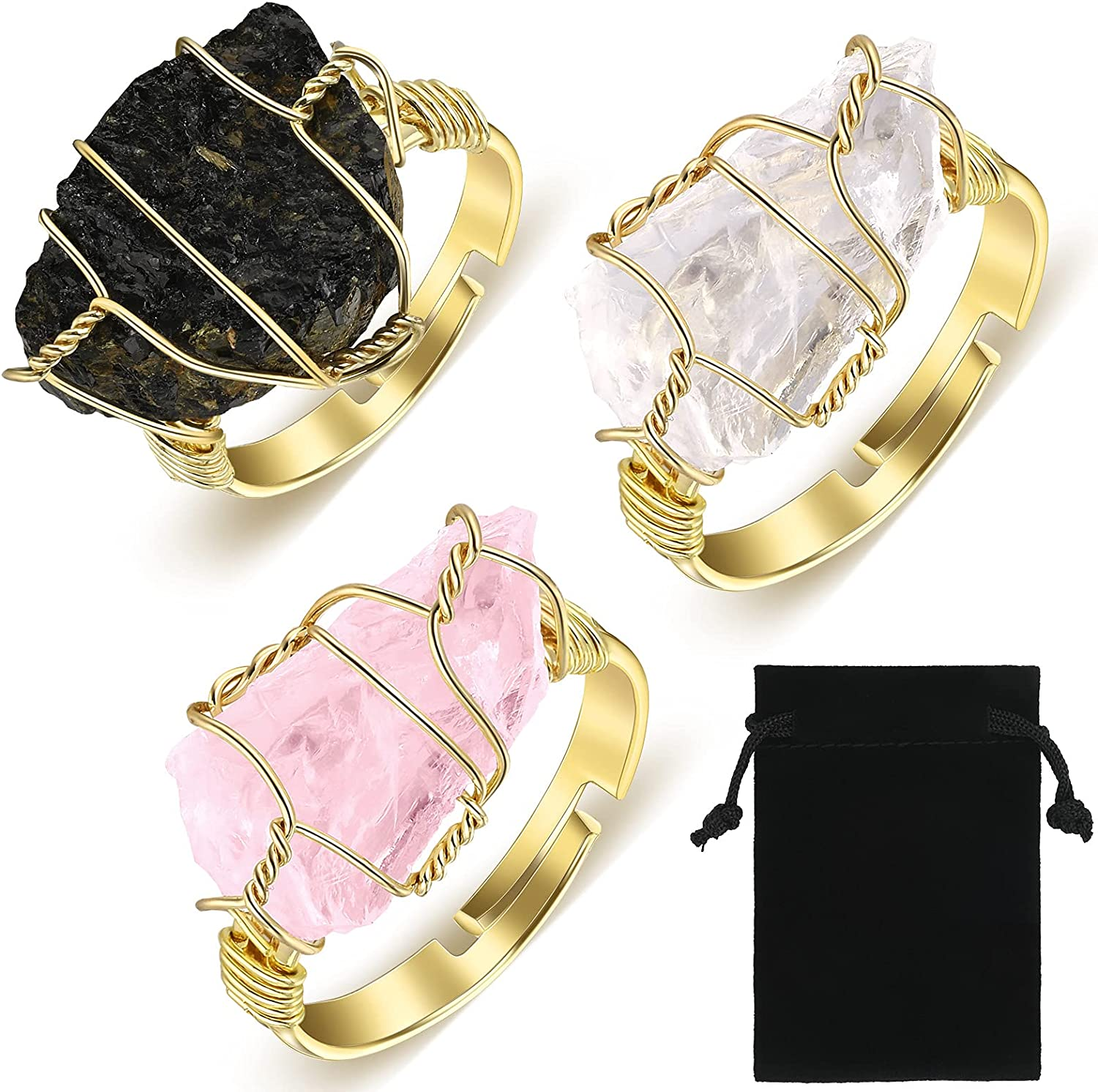 3 Pieces Chakra Crystal Ring Wire Wrapped Irregular Crystal Ring Raw Healing Crystal Ring Adjustable Gemstone Stone Ring Jewelry with Exquisite Flannel Bag for Women Girls