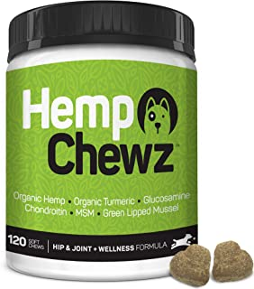Hemp Chewz Hip & Joint Supplement for Dogs - 100% Organic Hemp Oil Infused Dog Treats for Joint Pain Relief & Mobility Support + Glucosamine, Chondroitin, Organic Turmeric, and MSM - 120 Soft Chews