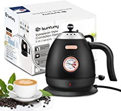 Electric Pour Over Water Kettle Boiler with Thermometer, Stainless Steel Gooseneck Coffee Boiler Heater,Hand Drip Teapot,B...