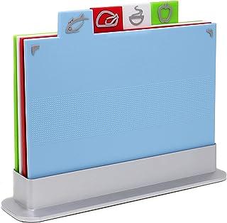 Conjunto de tabla de cortar de color índice | Juego antideslizante de 4 tablas de cortar con código de color | Incluye soporte | Apto para lavavajillas | M&W