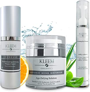 Anti Aging Skin Care Set: Retinol Cream, Vitamin C Serum & Firming Eye Cream for a glowing and radiant skin. The Best Beau...