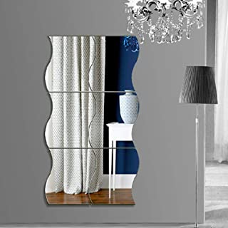 Mirror Wall Stickers,YINASI 6pcs DIY 3D Effective Wave Mirror Wall Decor Home Decoration Living Room Bedroom Self Adhesive Decorative Mural Decal