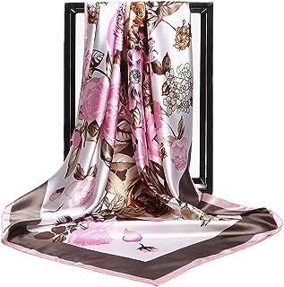 HIDOUYAL Grand Foulard 90x90cm Satin Imprimé Fleurs Multicouleurs