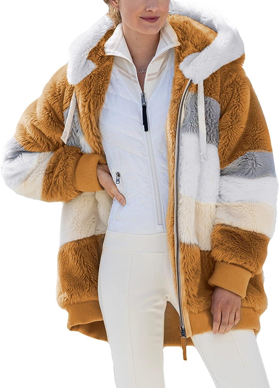 Genuine Dokotoo Womens Ranking TOP6 Fuzzy Fleece Jacket Front Open Color Hooded Block
