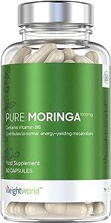 Moringa Oleifera Pura Alta Dosis de 1000 mg - Superalimento Antioxidante Natural, Activa Sistema Inmunitario, Mejora Metabolismo y Aumenta Energía, Con Vitamina B6, Mejora Digestión, 60 Cápsulas
