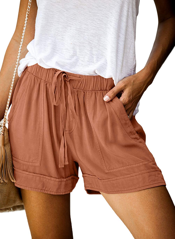 Shawhuwa Womens Drawstring Elastic Waist Summer Casual Beach Shorts with Pockets
