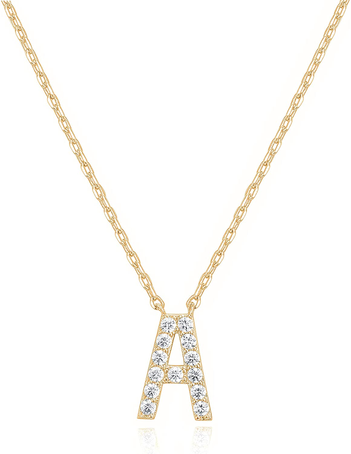 PAVOI 14K Yellow Finally popular brand Gold Plated Initial Zirconia mart Cubic L Necklace