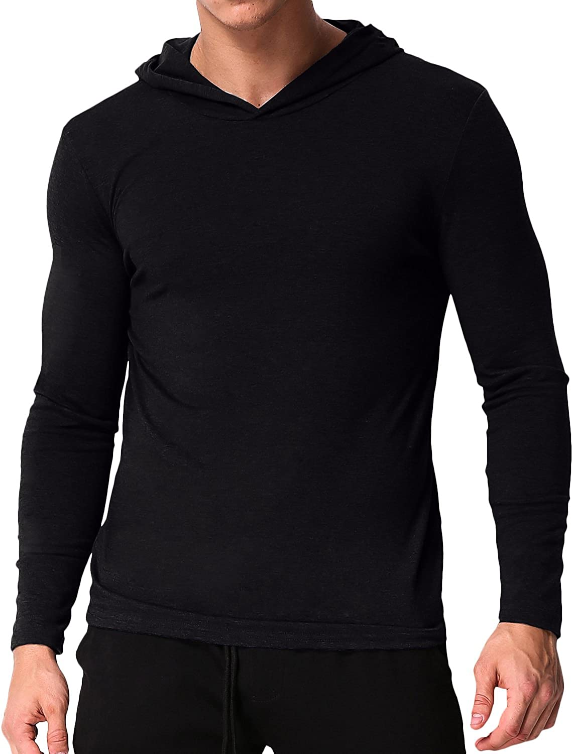 PODOM Men's Polyester Long Sleeve Hoodie V Neck Shirts Tee Casual Tops Hooded