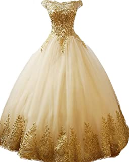 Áo quần dành cho bé gái – Gold Lace Appplique Quinceanera Dresses Long Sleeves Prom Ball Gown BD389