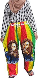 Danai Presents.COOL BOB MARLEY 100% Rayon One Size Women's BOB MARLEY Print Exercise Yoga Harem Trousers
