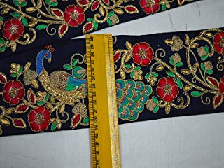Wholesale Peacock Navy Blue Indian Embroidered Laces and Trims Peacock Saree Border Fabric Trim by 9 Yard Trimmings Ribbon Indian Sari Border Gold Lace On Dupion Fabric