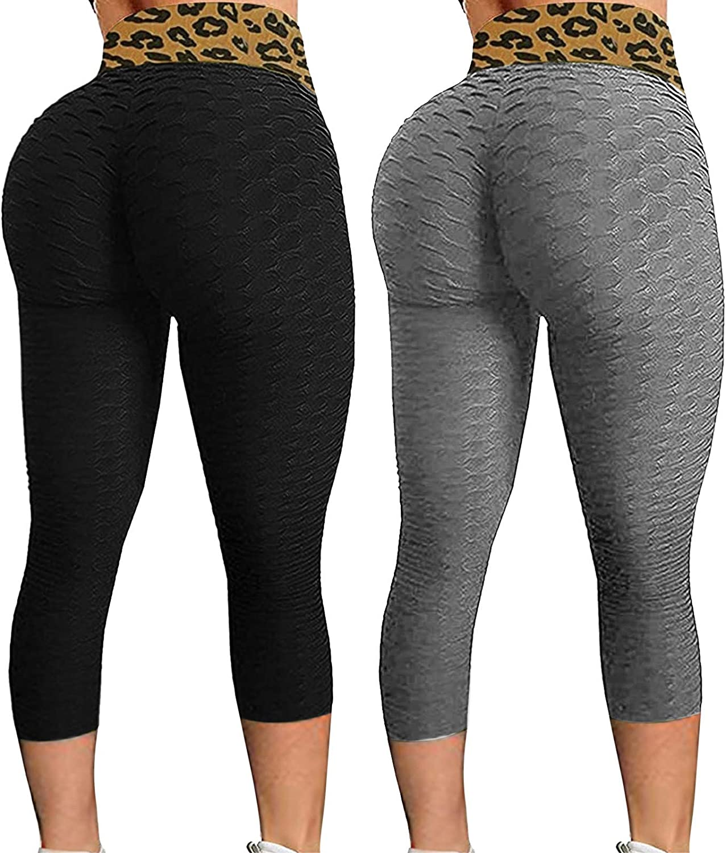 2 Pack Butt Lift Leggings for Women,Sexy Butt Lifting Workout Leggings for Women Textured Booty High Waist Yoga Pant