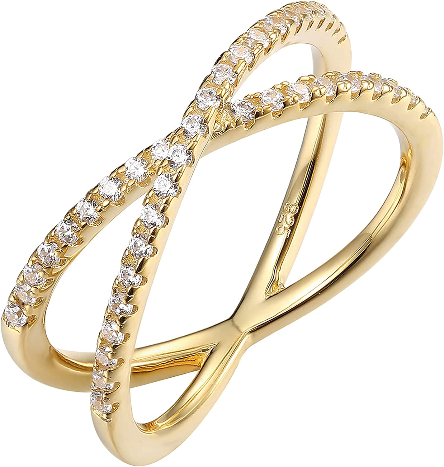 PAVOI 14K Gold Plated X Ring Simulated Diamond CZ Criss Cross Ring for Women