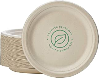 100% Compostable 7 Inch Paper Plates [125-Pack] Heavy-Duty Plate, Natural Disposable Bagasse Plate, Eco-Friendly Made of S...