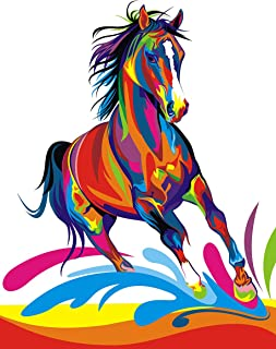 iFymei Paint by Number Kits Paintworks Acrylic DIY Oil Painting for Kids and Adults Beginner Animals Canvas ( Color Horse )