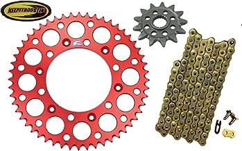 Renthal-Jt-Wps Chain and Sprocket with Keepitroostin Sticker Fits Honda Cr250 1988-2007 Cr500 1988-2001 Crf450 2002-2014 (13 Front Sprocket 51 Rear Sprocket, Red)