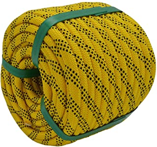 "YUZENET Braided Polyester Arborist Rigging Rope (3/8"" X 100') Strong Pulling Rope for Climbing Sailing Gardening Swings,Ye..."