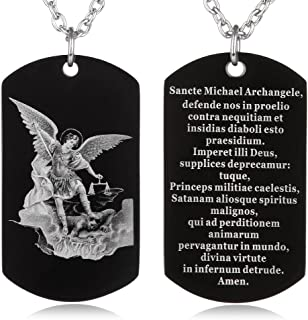 FAYERXL St Michael The Archangel Latin Prayer Dog Tag Necklace Military Pendant Christian Faith Jewelry