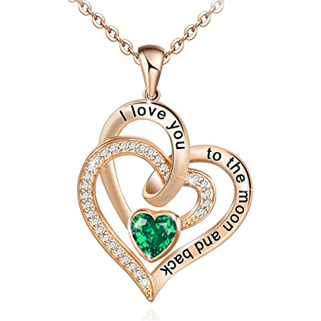 DESIMTION Sterling Silver Heart Rose Flower Necklaces for Women,Anniversary Valentines Day Birthday Jewelry Gifts for Girlfriend Wife Mom