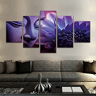 Purple Buddha Paintings 5 Pieces Canvas Art Wall Decor Prints Artwork for Living Room Framed,Small Size 100cmX55cm,Ready t...