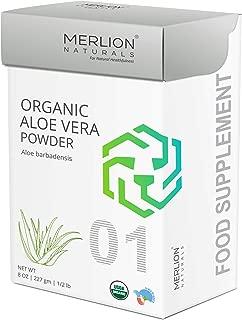 Organic Aloe Vera Powder by Merlion Naturals | Aloe barbadensis | 227gm/ 8OZ/ 1/2lb | USDA NOP Certified 100% Organic
