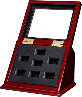 BIGWISH Wooden Championship Rings Sports Rings Display Case Box Ring Box with Slanted Window (Without Rings)