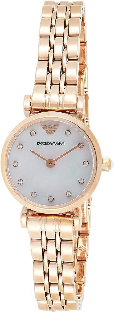 Emporio armani, orologio per donna,  in acciaio tonalità oro rosa, quadrante in madreperla con cristalli AR11203