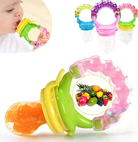 BabyGo Organic Baby's BPA-Free Silicone Nipple Food Nibbler for Fruits with Rattle Handle and Storage Box (Multicolou...