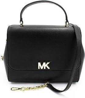 Michael Kors 35S0GOXS2L Mott Black Leather Gold Hardware Women's Satchel