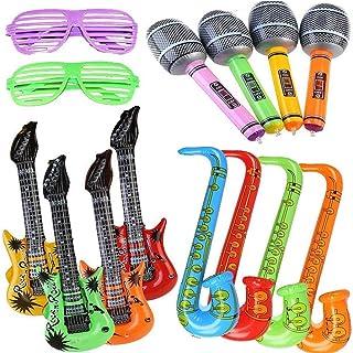 Yojoloin 14 UNIDS Inflables Guitarra Saxofón Micrófono Gafas Globos Instrumentos Musicales Accesorios para Fiesta Suministros Favores de Fiesta Globos Random Color (14 PCS)