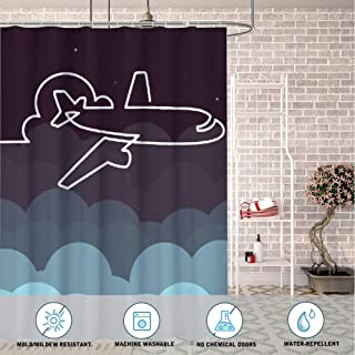 DISNEY COLLECTION Bathroom 72X72 Inch Shower Curtain Plane Painting Waterproof Heavy Duty Cartoon Cute Home Kitchen Dormitory Hotel