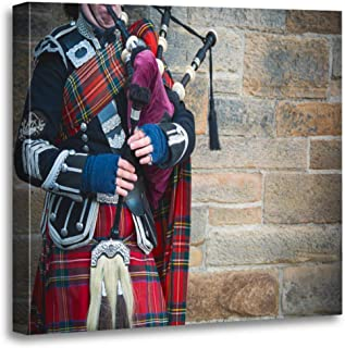 Semtomn Canvas Wall Art Print Music Playing The Bagpipes on Streets of Edinburgh Scotland Artwork for Home Decor 12 x 12 Inches