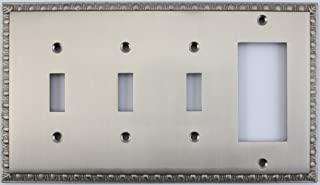 Egg & Dart Satin Nickel 4 Gang Combo Wall Plate - 3 Toggle Light Switches 1 GFI Outlet/Rocker Switch