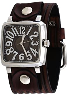 Nemesis #VEBB218B Sqaure Big O Numbers Brown Dial Wide Leather Cuff Band Watch