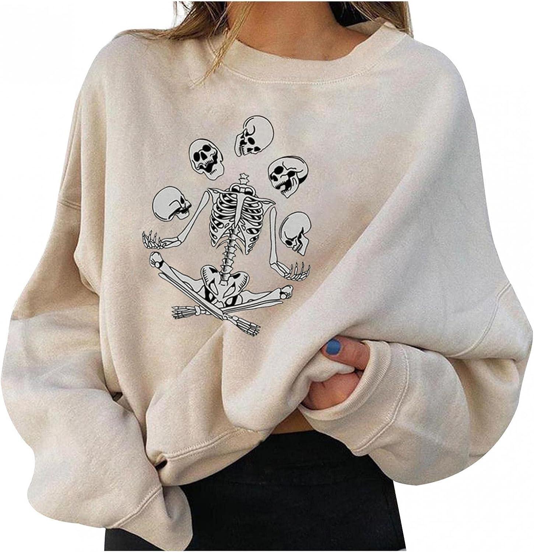 Oiumov Halloween Sweatshirts for Women Dance Skeleton Graphic Long Sleeve Crewneck Pullover Top Costumes Sweaters Shirts