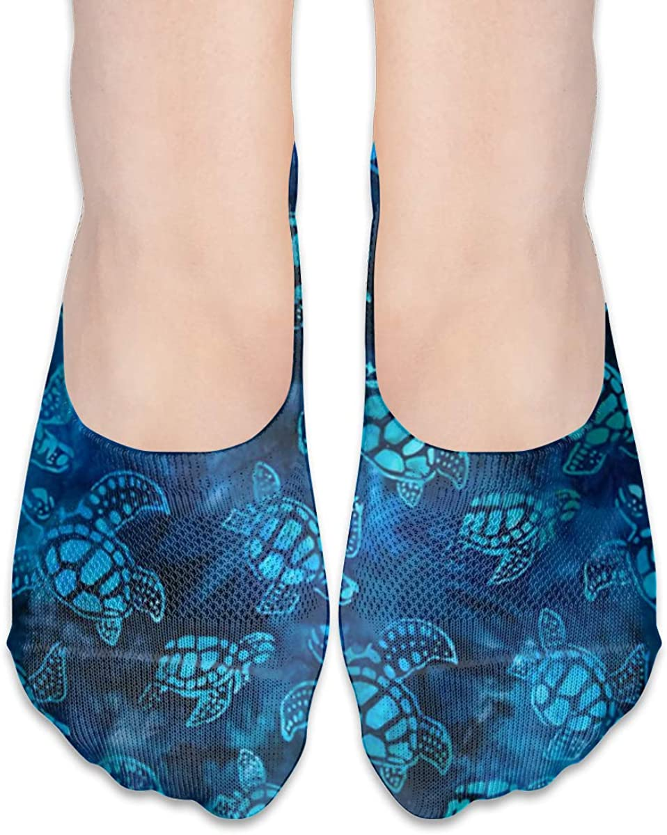 No Show Socks Women Men For Watercolor Blue Sea Turtle Flats Cotton Ultra Low Cut Liner Socks Non Slip