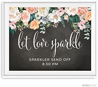 Andaz Press Peach Chalkboard Floral Garden Party Wedding Collection, Personalized Party Signs, Let Love Sparkle, Sparkler Send Off, 8.5x11-inch, 1-Pack, Custom Made Any Time