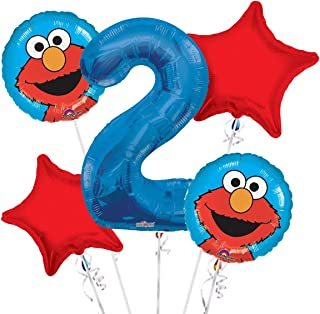 Sesame Street Elmo Balloon Bouquet 2nd Birthday 5 Pcs