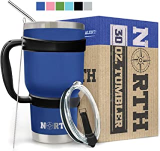 Royal Blue North Stainless Steel Vacuum Insulated 5-Piece Tumbler Set, 30 oz, Travel Mug For Home, Office, School – Like Yeti Tumbler For Ice Drink & Hot Beverage (Royal Blue Stainless Steel Mug)