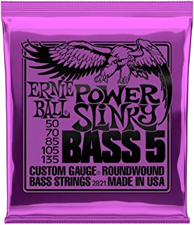 Ernie Ball P02821 Power Slinky 5-String Nickel Wound Electric Bass Strings 50-135 Gauge