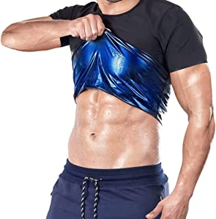 joyvio Mannen Vrouwen Sauna Zweet Vest T-shirt Gewichtsverlies Gym Workout Korte Mouw Ademend Snel Droog Sauna Pak met Zwe...